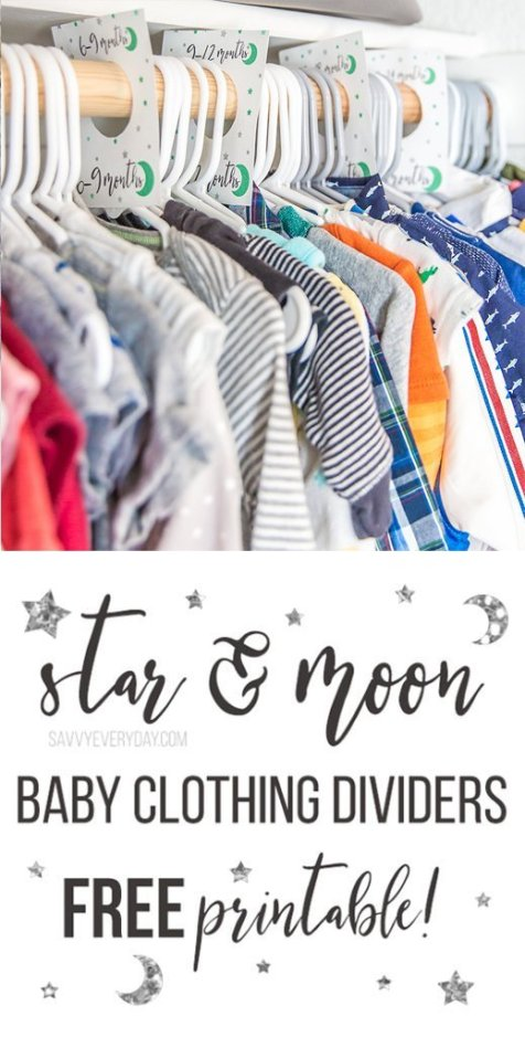 Free Star & Moon Baby Clothing Dividers Printable