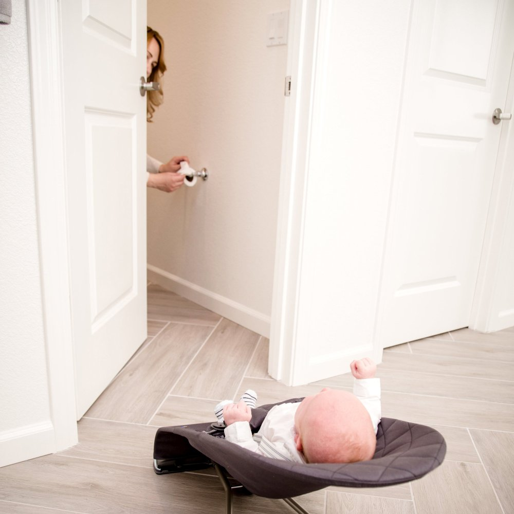 BabyBjorn Bouncer in bathroom