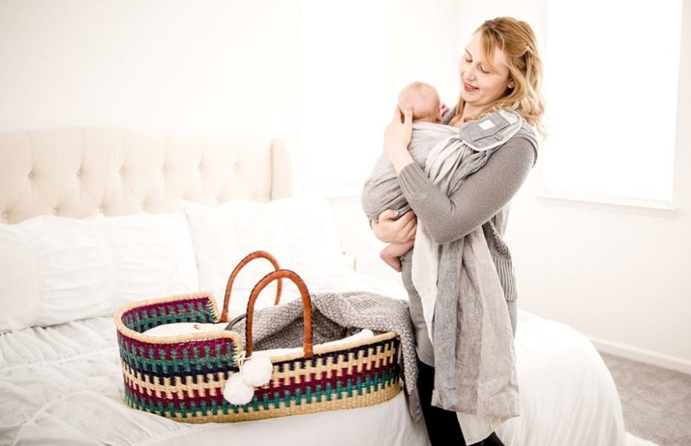 putting River in the ring sling