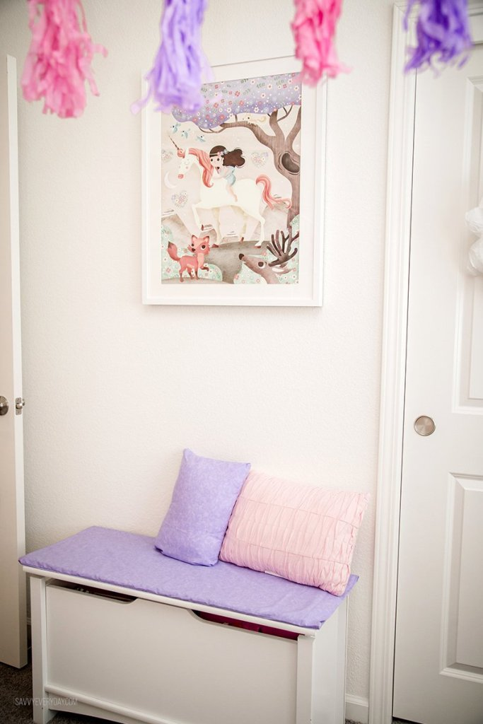 Mouse + Magpie Unicorn Ride framed art over matching bench