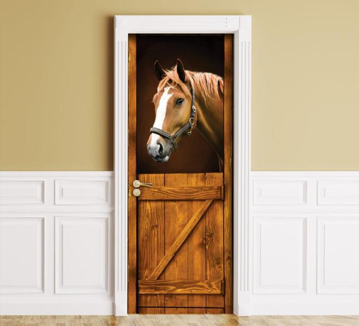 Sticker for Door / Wall / Fridge - Horse in Stall. Peel & Stick Removable Mural