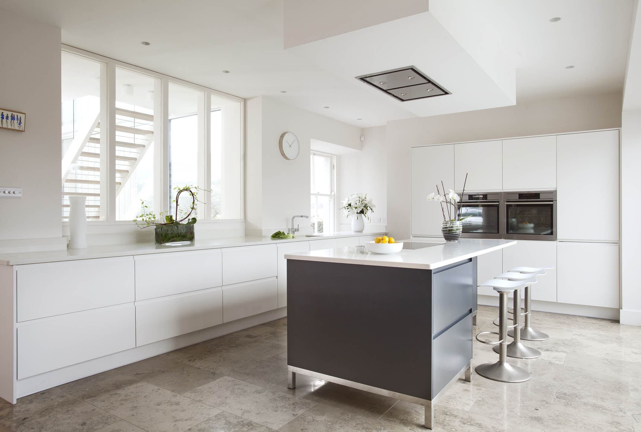 Contemporary German Style Dublin Kitchen Painted In Farrow And Ball White And Railings