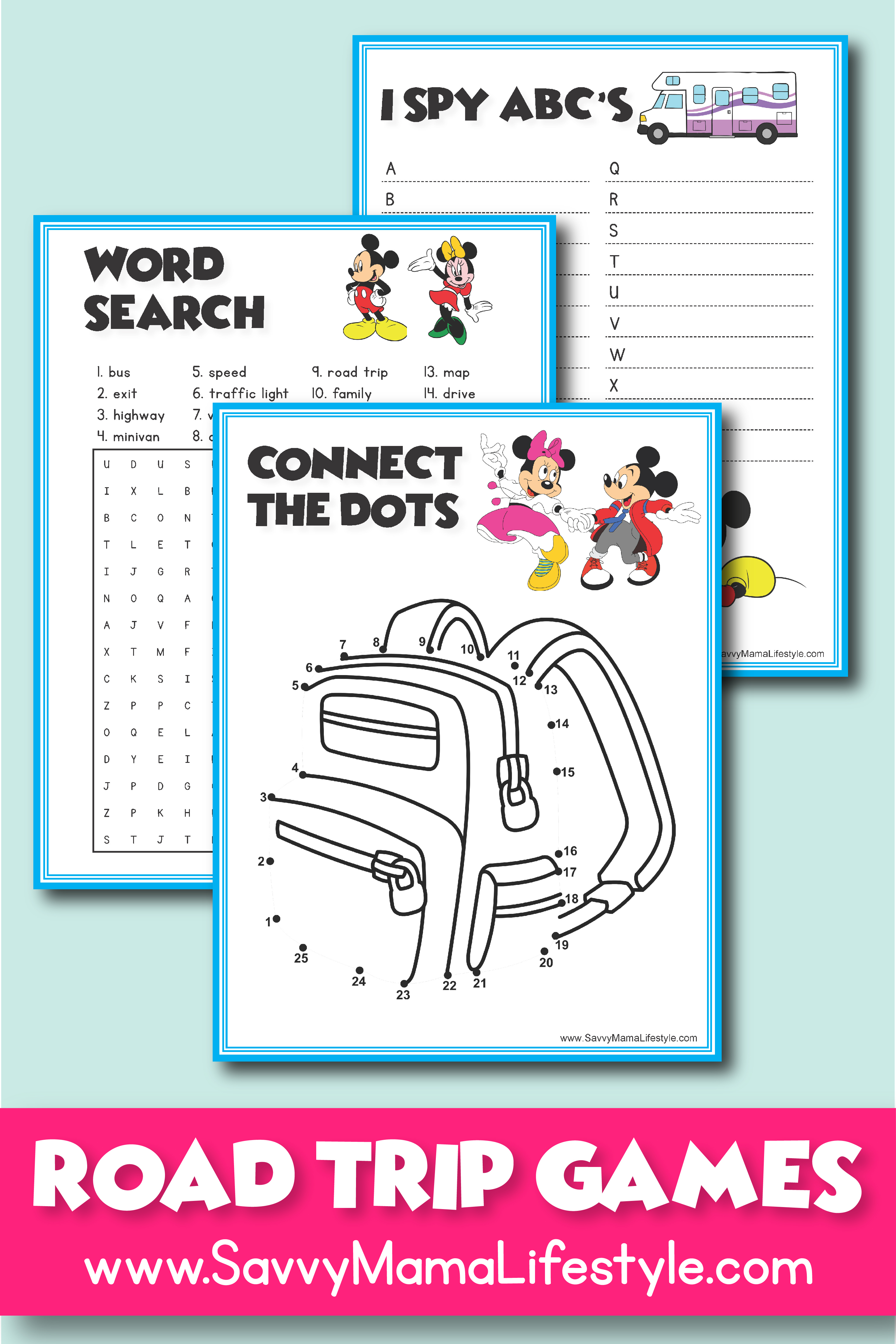 3 Disney Road Trip Games Free Printable Activities For