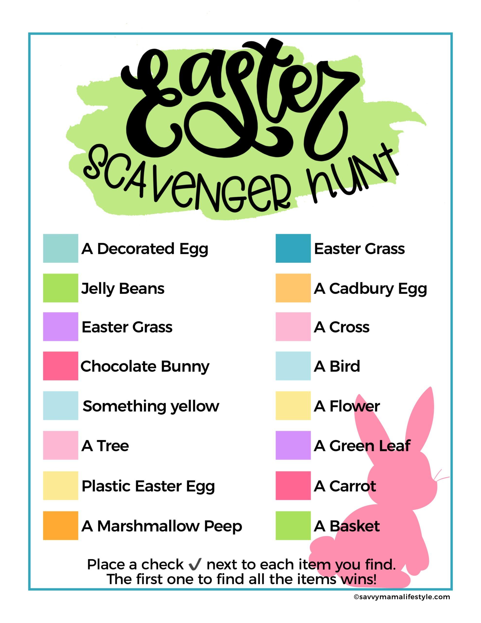 Printable Easter Scavenger Hunt Play Inside Amp Outside