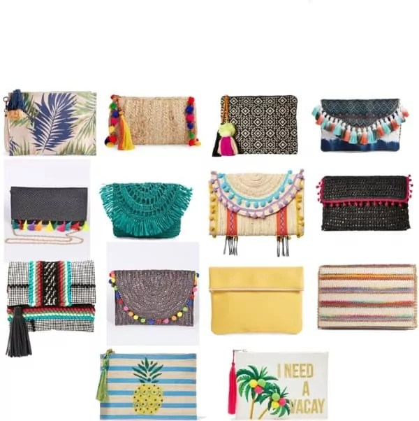 colorful summer clutches