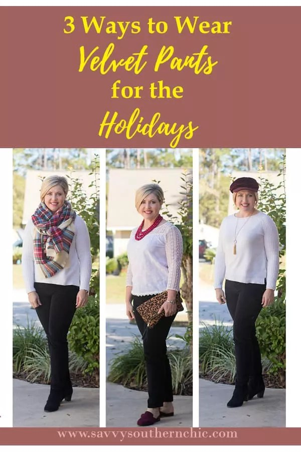 3 ways to wear velvet pants, holiday outfits