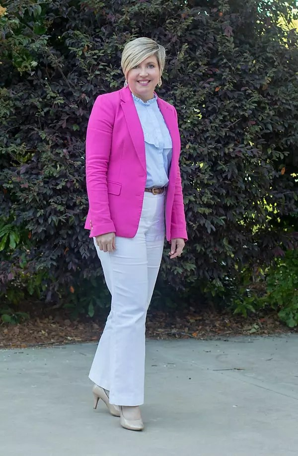 hot pink blazer work outfit