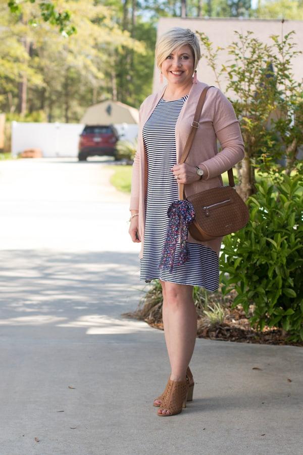 stripe dress blush cardigan