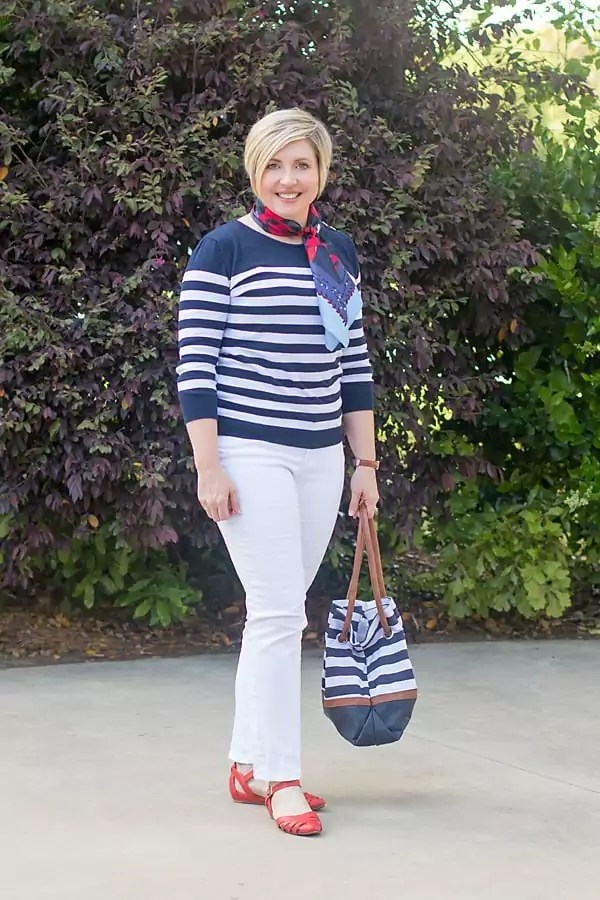 striped top with neck scarf