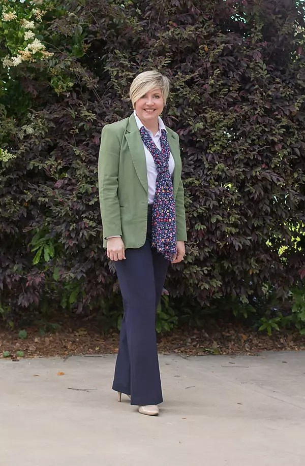 olive and navy office outfit