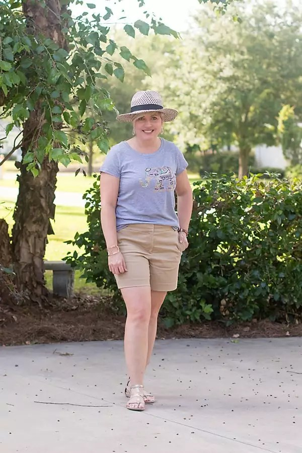 summer outfit, hat outfit, summer fashion, fashion outfit, khaki shorts