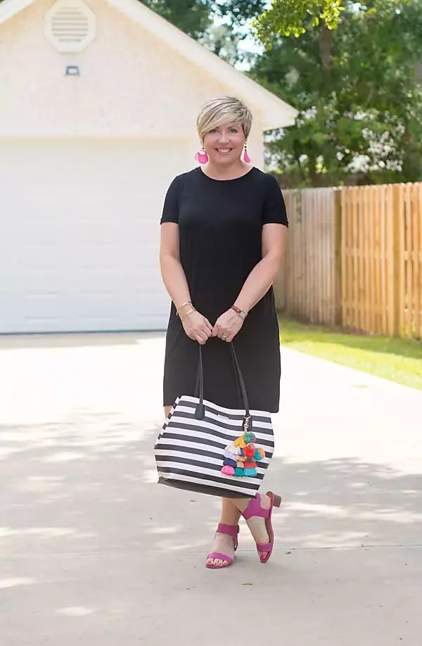 striped tote with black tee shirt dress