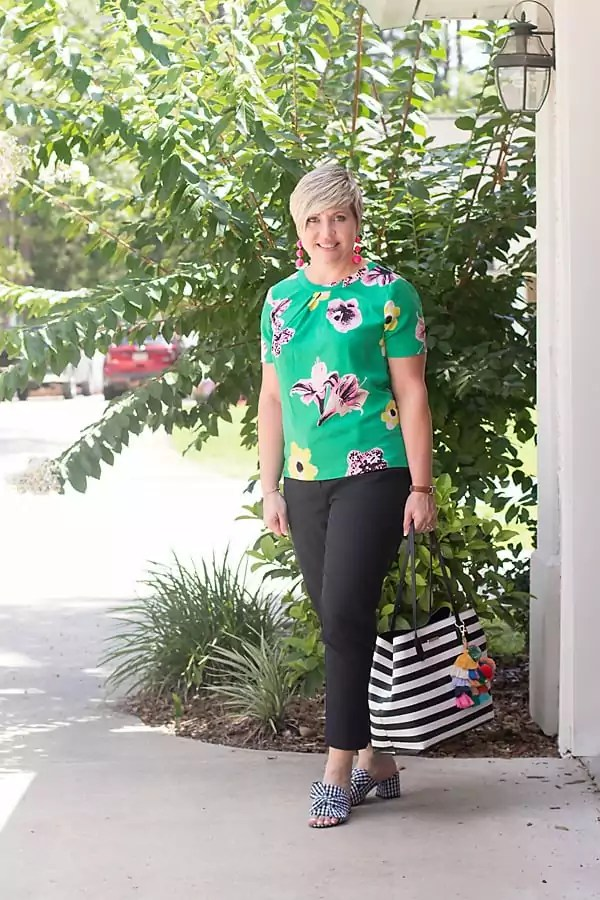 floral top, black ankle pants, gingham mules, striped tote, summer outfit