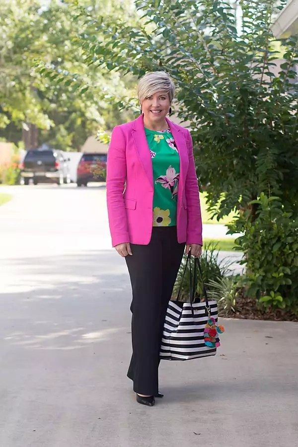 green floral top, summer brights, summer office outfit