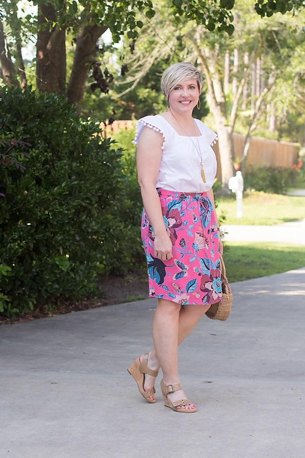 neutral wedges, summer outfit, summer skirt outfit, Loft skirt