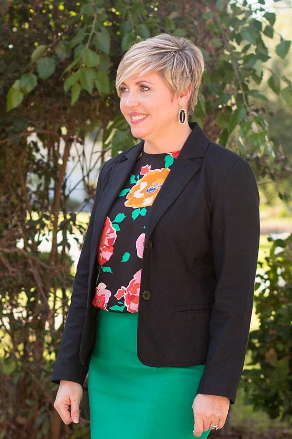 floral top, black blazer, Kendra Scott earrings, summer office attire, summer fashion