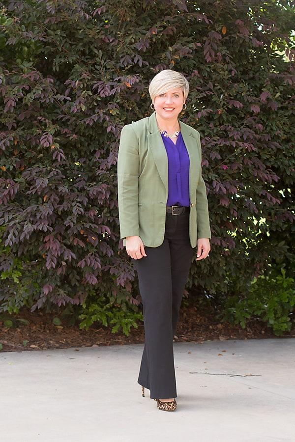 leopard pumps, olive blazer, work wear, office outfit