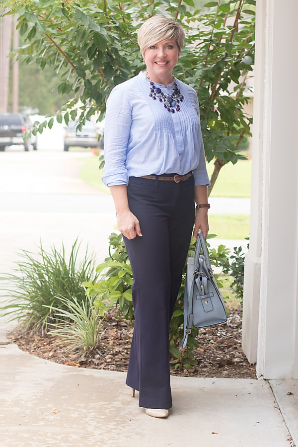 office attire, office outfit, work outfit, womens office outfit, navy and blue
