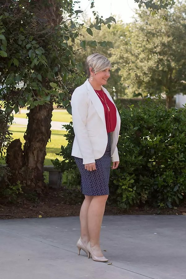 white blazer outfit, pencil skirt outfit