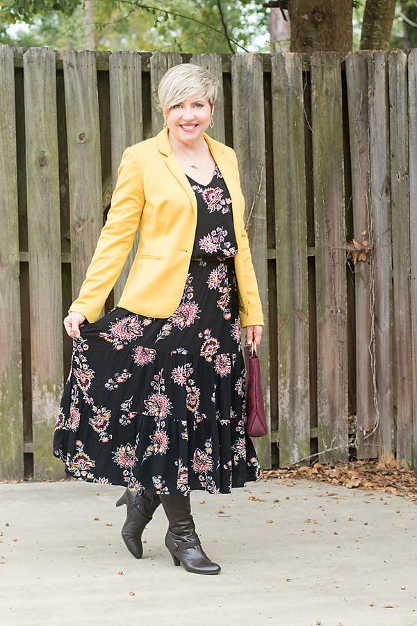 fall dress outfit, midi dress