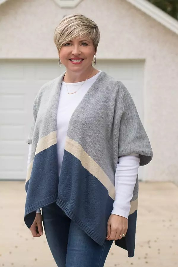 poncho, Kendra Scott earrings