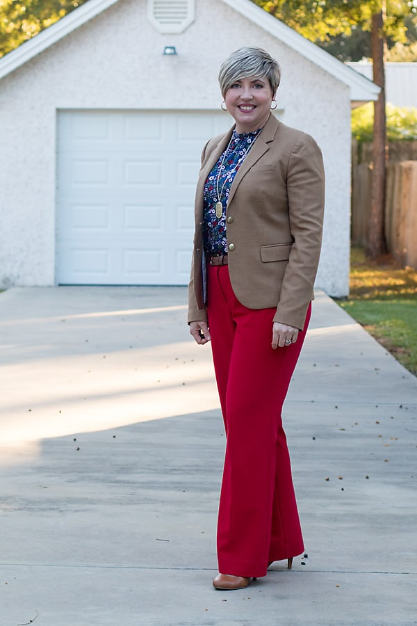 red pants, camel blazer, office outfit