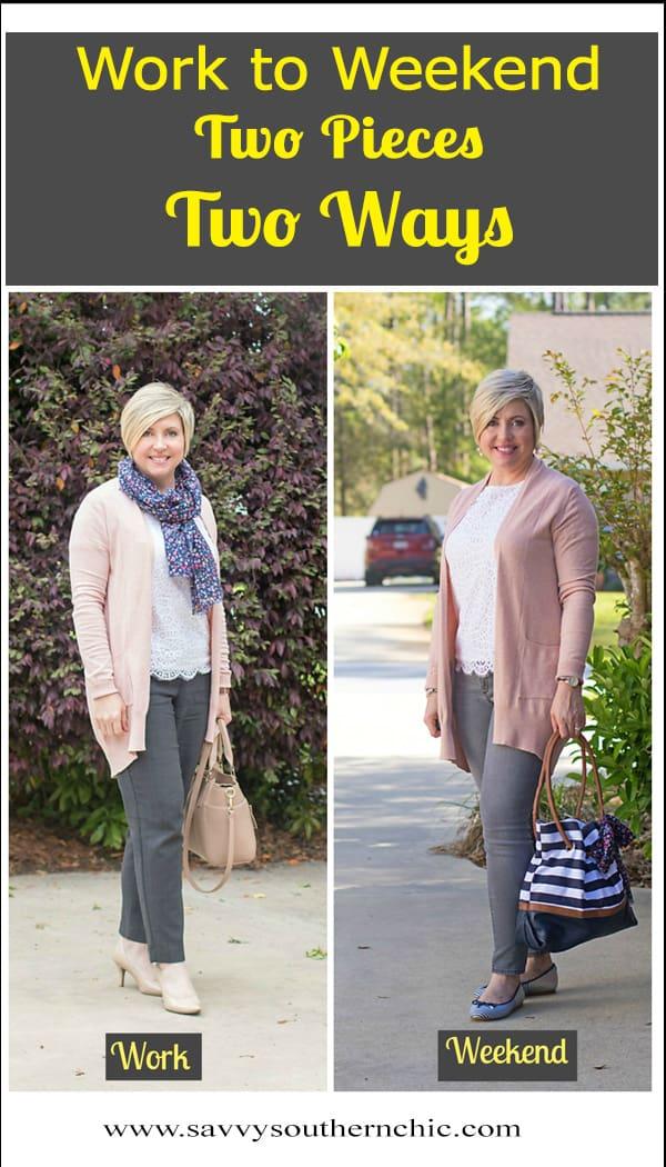 blush cardigan styled two ways