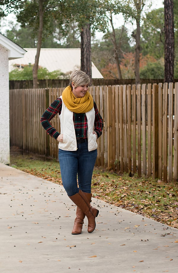 riding boots, infinity scarf