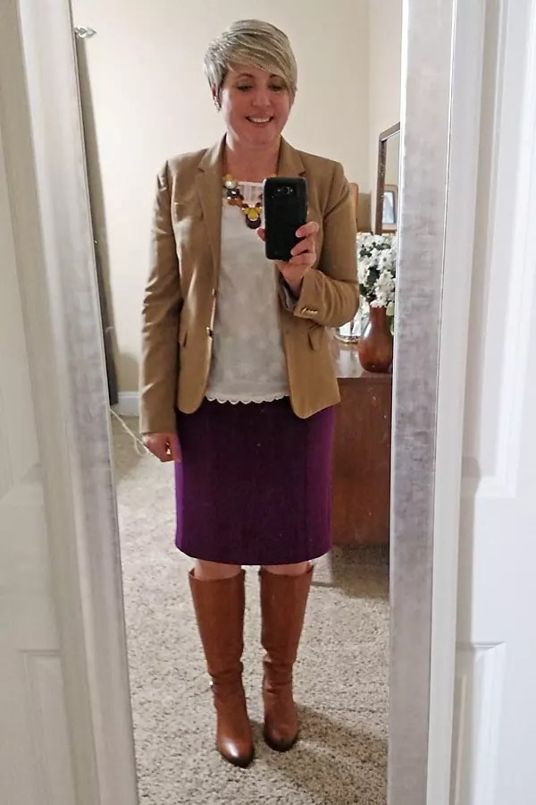 camel blazer, pencil skirt, Naturalizer boots