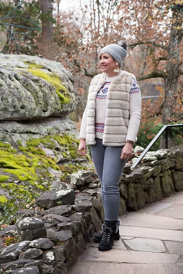 winter outfit, faux fur vest, fair isle sweater, beanie