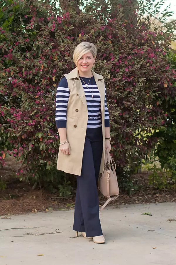 sleeveless trench coat, women's office attire