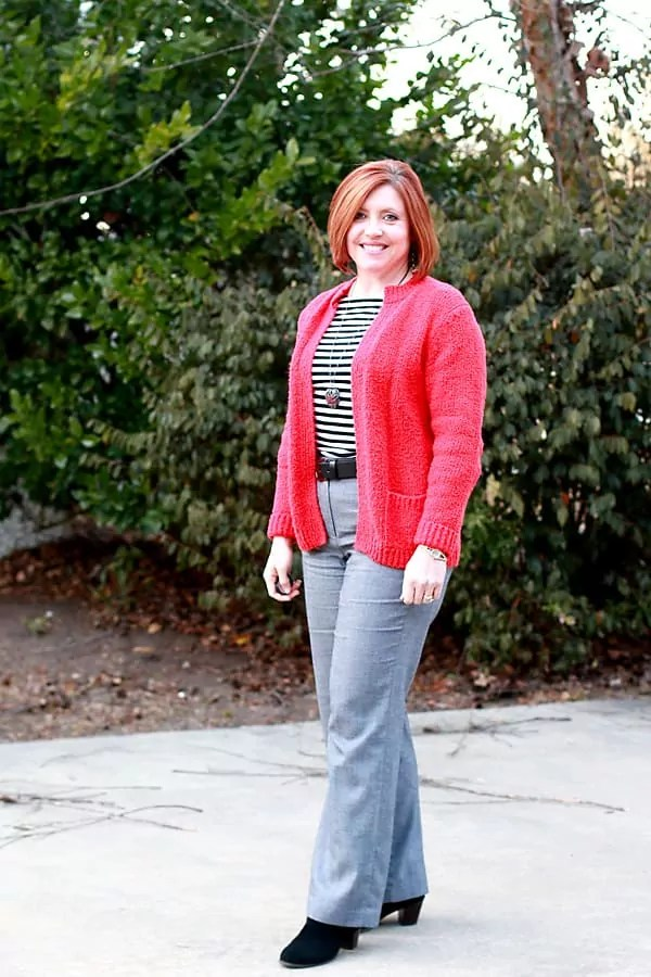 Striped top with red cardigan