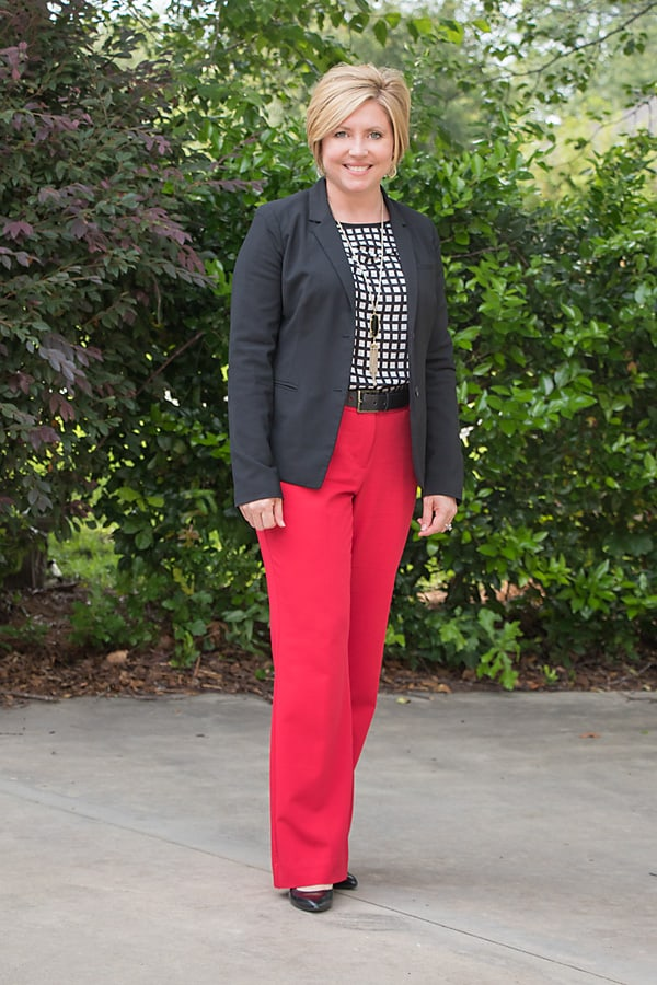 red white and black office outfit