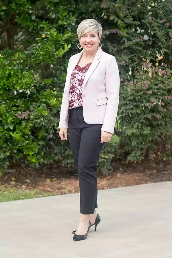 Blush with burgundy and black office outfit