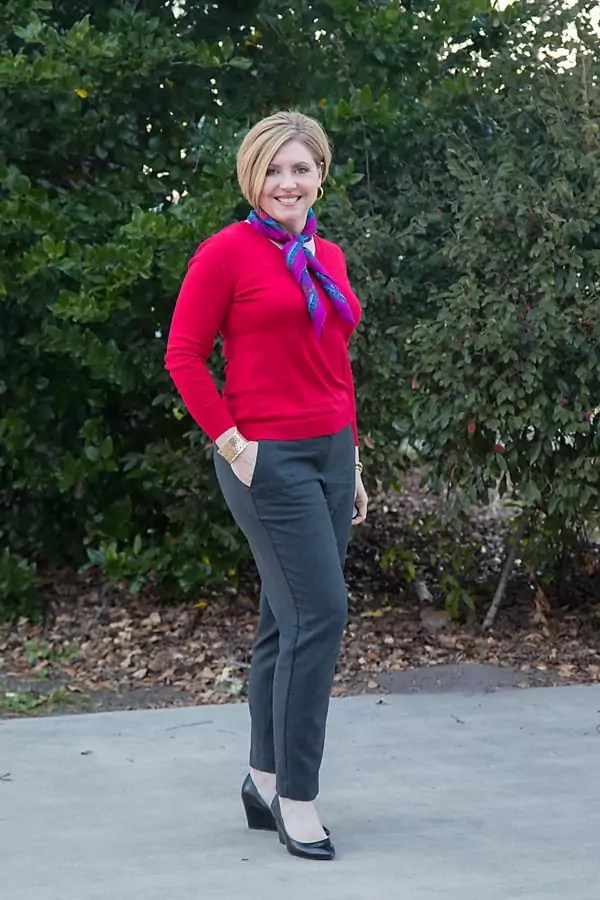V neck sweater and neck scarf outfit