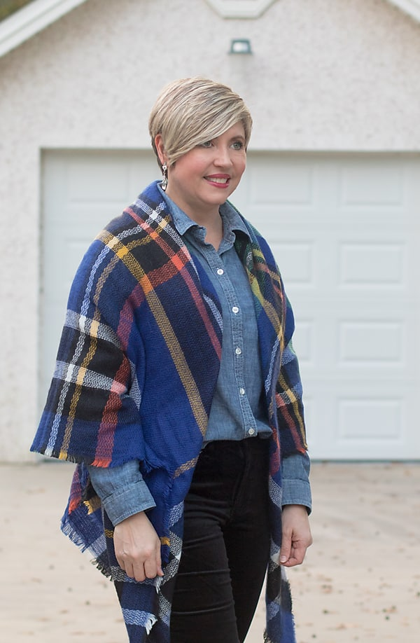 chambray shirt and plaid blanket scarf