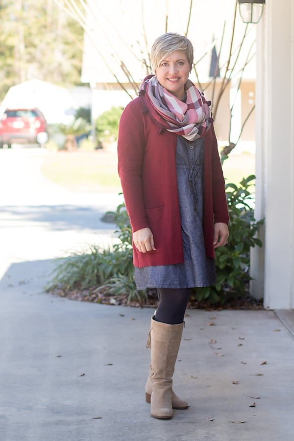 tall taupe boots with chambray dress