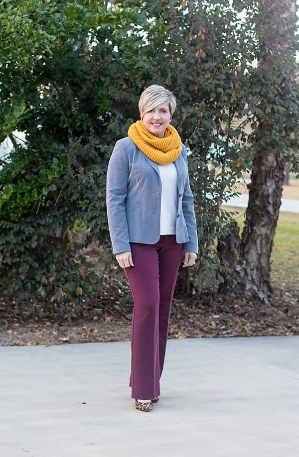 Over 40 fashion blogger Savvy Southern Chic/ mustard infinity scarf with sweater, blazer and tweed pants