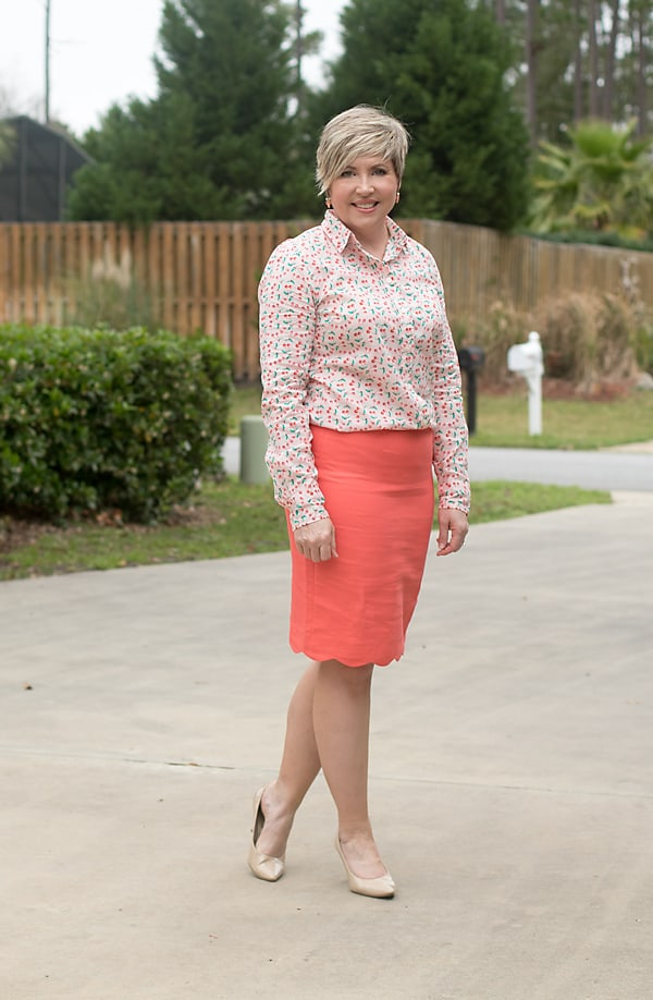 spring pencil skirt outfit from JCrew Factory with cherry print button up top