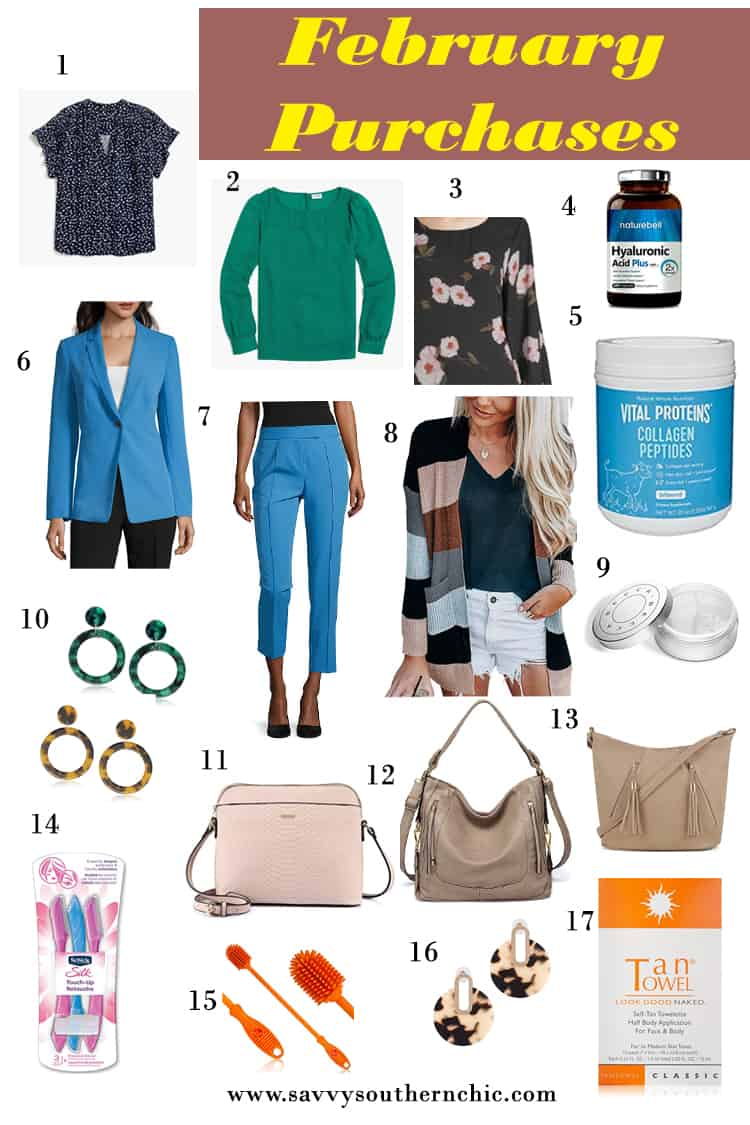 February purchases from JCrew Factory, JCPenney and Amazon