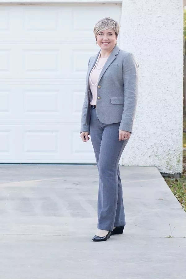 office outfit with blush and grey