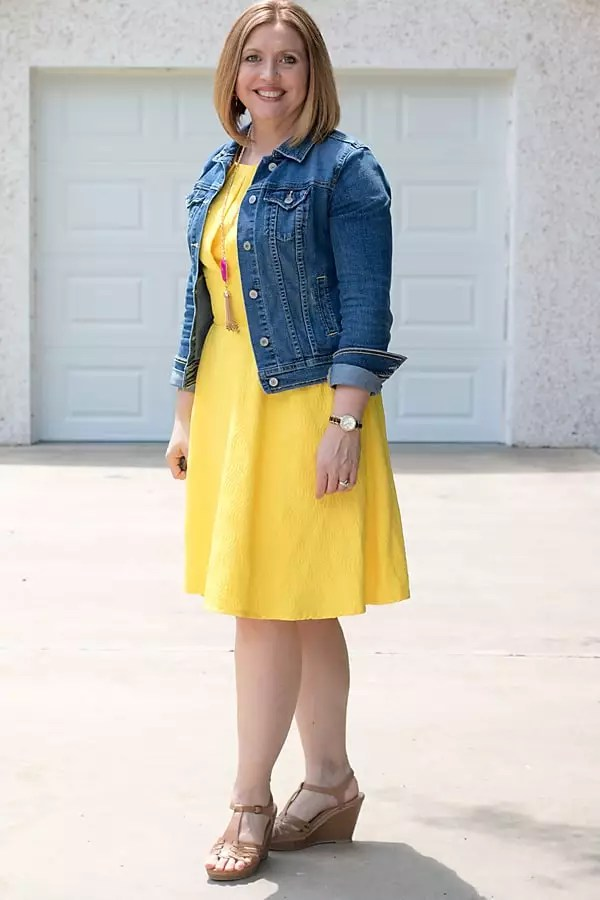denim jacket for spring outfit with dress