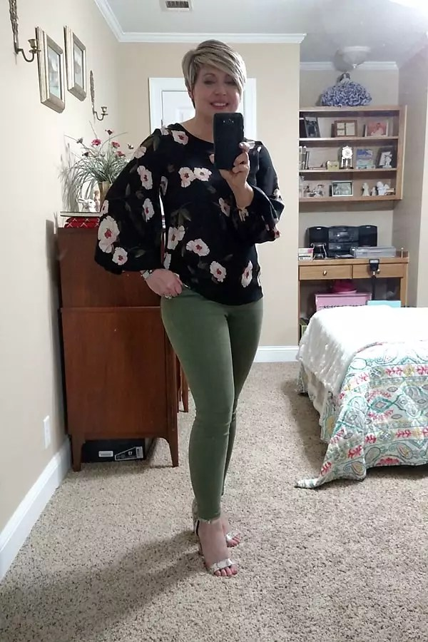 floral top with snakeskin sandals