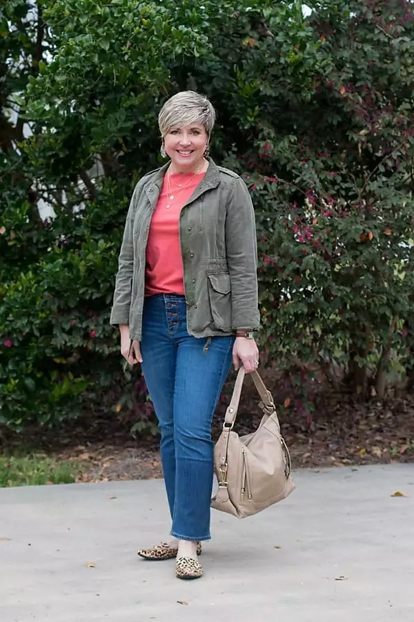 spring outfit with utility jacket and crop button fly jeans