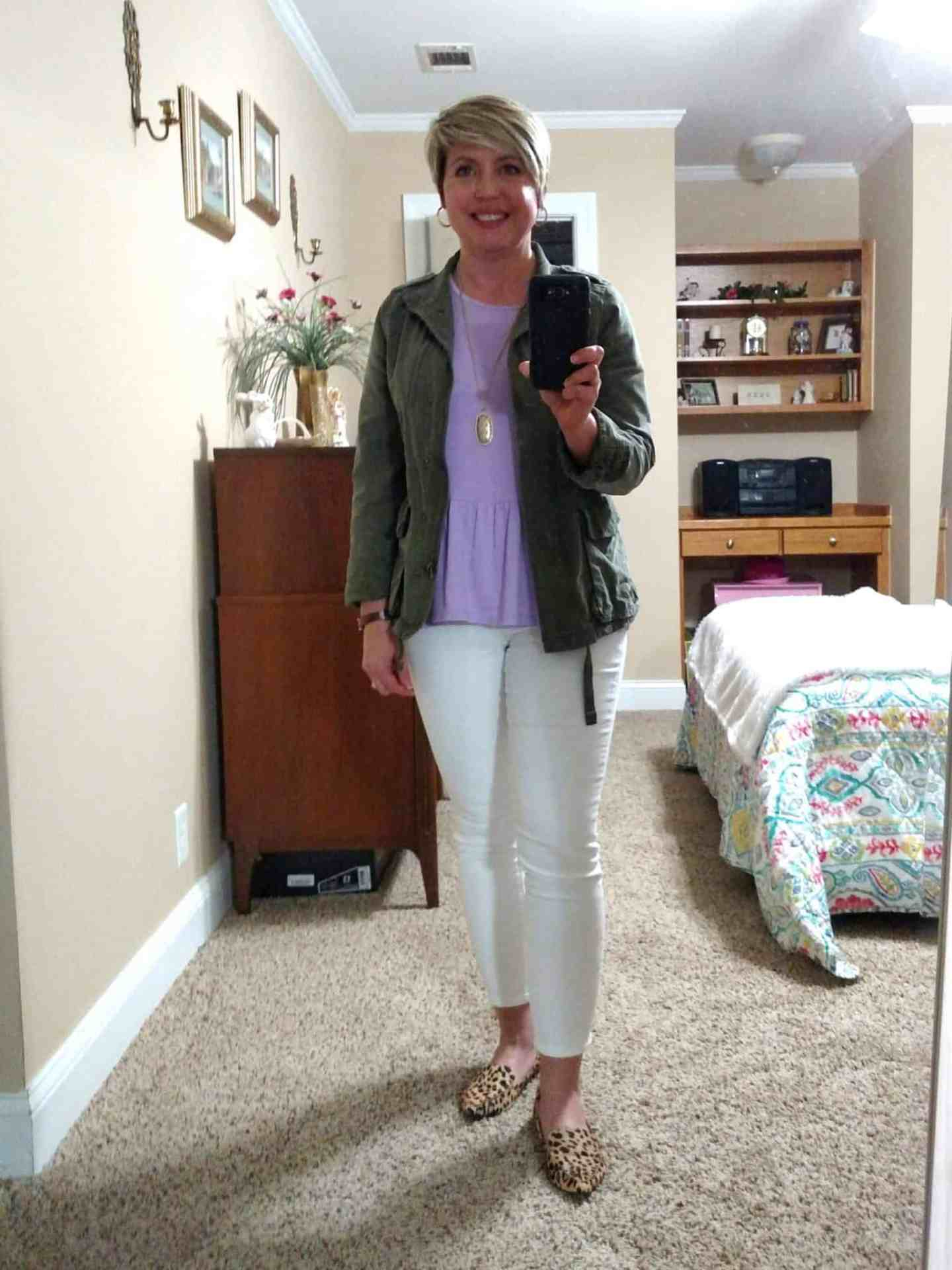 spring outfit with olive utility jacket and peplum tee, outfits lately