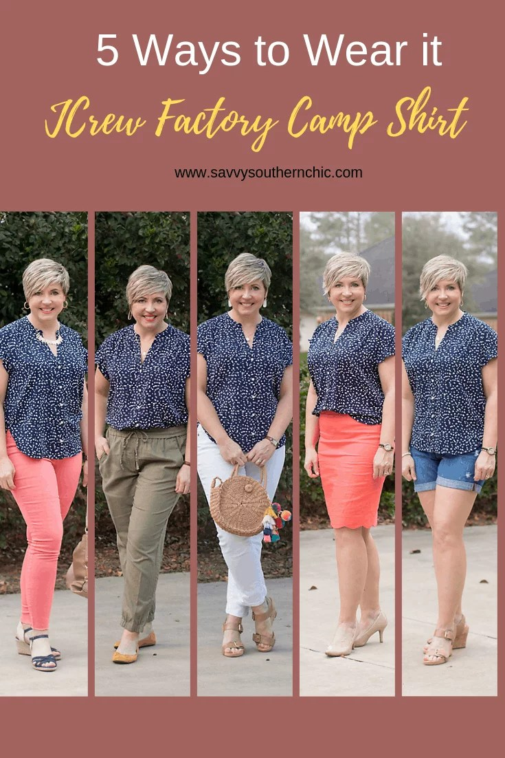 JCrew Factory camp shirt 5 ways (and Five for Friday)