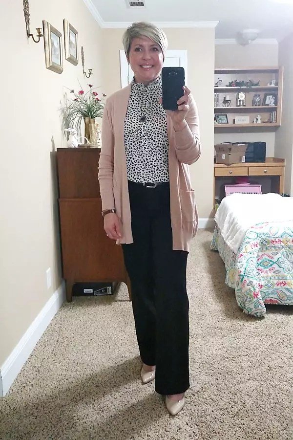 wear to work cardigan and trousers
