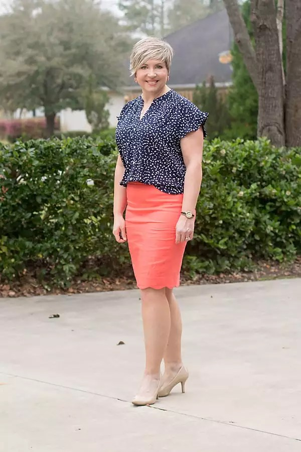 JCrew factory camp shirt with pencil skirt