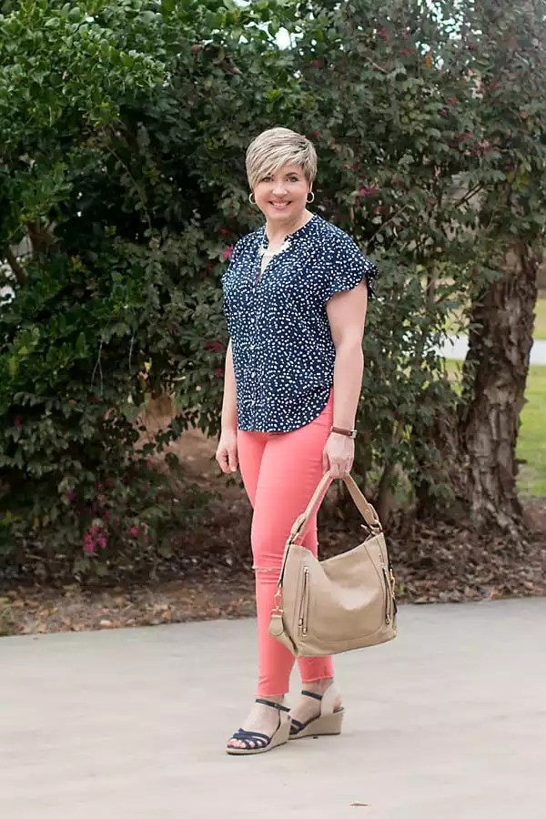 JCrew Factory camp shirt with coral jeans