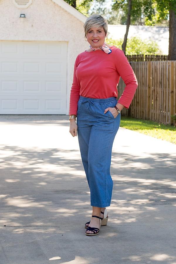 wide leg chambray pants